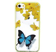 2-in-1 Blue Butterfly Pattern TPU Back Cover with PC Bumper Shockproof Soft Case for iPhone 5/5S