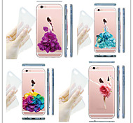 MAYCARI® Flowers Girls Transparent TPU Back Case for iPhone 5/iphone 5s(Assorted Colors)