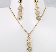 European and American fashion new peanut-shaped 3 diamond necklace Earring Sets