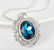 Elegant Style 925 Sterling Silver Jewelry Round with Color Zircon Pendant Necklace for Women