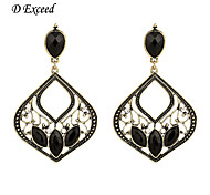 D Exceed Women New Collection Hollow out Black Jet Ladies Earrings Retro Chandelier shape Earring with Jet Drop on Sale