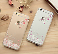 iPhone 7 Plus Girl Cherry Tree Pattern TPU Soft Case for iPhone 6s 6 Plus