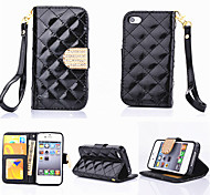 Luxury Bling Diamond Button Check Shiny Surface PU Leather Wallet Stand Case For iPhone 4/4S (Assorted Color)