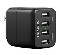 LVSUN® 4 Port USB Travel Wall Charger AC Power Adapter for iPhone6S/Samsung S6 and Others (EU Plug)