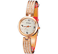 Women's Mini Dial Sparkle Slim PU Band Quartz Watch