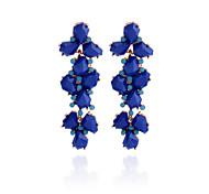Korean Vintage Resin Blue Flower Earring
