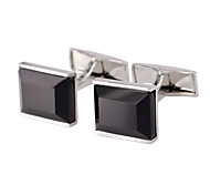 Brass, Agate Jewelry Material, Rectangular Cufflinks