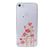 Latest Red Flower Pattern Swarovski Diamond High Quality Laser Relief Touch Phone Case for iPhone 5 / 5S