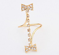 European And American Fashion Personality Double Bow Diamond Ring(Style Random)
