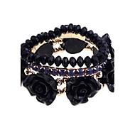 Fashion Roses With Claw Crystal  Elastic Bracelet Set