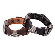 Punk Men's Pure Handicraft Leather Skeleton Belt Wrist Bracelets