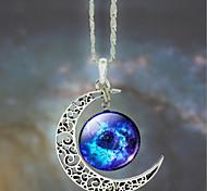 Women's Galaxy Star Moon Time Gem Necklace(Random Color)