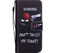 The New Do Not Touch My Phone Pattern PU Leather Material Flip Card Cell Phone Case for iPhone 6 /6S