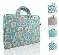 LOELMALL ® Carry Laptop Sleeve Canvas Fabric 13-13.3 Inch (Briefcase Green Chrysanthemum)