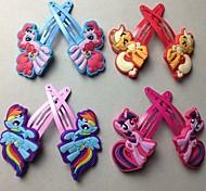 10pcs/5 Pairs Random Children Hair Accessories My Little Pony Hair Clip Girls Cartoon Kids Hairpins