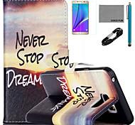 coco Fun® Sonnenaufgang Bergmuster PU-Lederetui mit V8-USB-Kabel, FLIM und Stylus für Samsung Galaxy Note 5