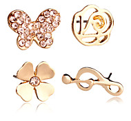 New Trendy Classic 18K Gold Plated  Butterfly Stud Earrings For Women /Girl/Lady 4PC