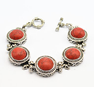 Vintage Look Antique Silver Plated Alloy Round Red Turquoise Stone Women Bracelet(1PC)