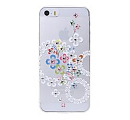 Latest Colorful Flowers Pattern Swarovski Diamond High Quality Laser Relief Touch Phone Case for iPhone 5 / 5S