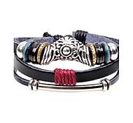 Men's Leather Weave Adjustable Bracelet with Vintage Flower