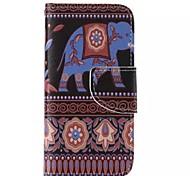 éléphant peint PU cas de téléphone pour iphone5c