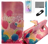 Coco fun® padrão balão colorido estojo de couro pu com cabo usb v8, flim, caneta e stand para Samsung Galaxy S6 borda