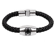 Men's Cow Leather Spider Titanium Steel  Magnet Buckle Bracelet