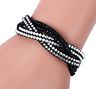 Lureme®Fashion Woven Leather Women's  Crystal Bracelets