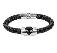 Men's Cow Leather Man Titanium Steel  Magnet Buckle Snake Weave Bracelet