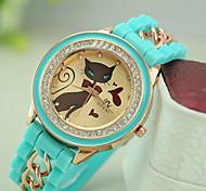 Ladies' New Fashion Cat Rhinestone Silicone Chain Bracelet Watch