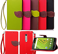 KARZEA™ Leaf Snap PU Full Body Case with TPU Back Cover Stand for MOTO X Play  (Assorted Colors)
