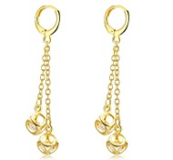 Classical Diamante Cube Zircon Gold Plated Drop Earrings (Golden,Rose Rold)(1Pair)