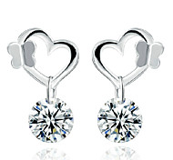 Lureme®  Korean Fashion 925  Sterling Silver Lovely  Butterfly Crystal Earrings