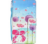 New Purple Flowers Lanyard PU Leather Material Flip Card Cell Phone Case for Huawei P8 Lite