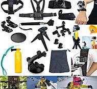 17pcs In 1 Accessori GoPro Montaggio / custodia protettiva / Monopiede / Treppiedi / Con bretelle / Vite / Boje / Sog / Accessori Kit Per