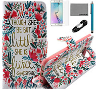 Coco fun® pouco padrão de flor estojo de couro pu com cabo usb v8, flim, caneta e stand para Samsung Galaxy S6 borda