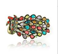Fashionable Alloy Multicolor Crystal CZ Peacock Bangle Bracelet(1PC)