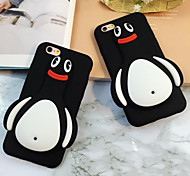 The New Three-Dimensional Black Penguins Green Silicone Phone Case for iPhone 6 /6S