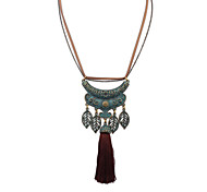 European Style Fashion Leaves Tassel Necklace