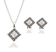 Women Wedding Party Square Retro Pattern Relief Printing Silver Clavicle Chain Necklace Earrings Two-piece