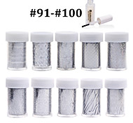 New 100Designs Nail Art Transfer Foil Paper 10pcs + 1pcs Nail Foil Glue (from #91 to #100)