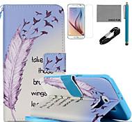 Coco fun® aprender a voar padrão de capa de couro pu com v8 usb cabo, flim, caneta e stand para Samsung Galaxy S6