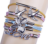 Vintage European Multistorey Alloy Leather Bracelet Wrap Bracelets 1pc