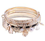European Style Ribbon Thread Charm Bangle Set