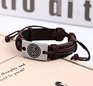 Lureme®Peace Sign Men's Woven Leather Bracelet