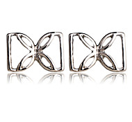 Hot Fashion New Casual Style Geometric Shape Silver bowknot  Stud Earrings for Women