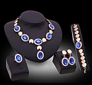 Lucky Doll Women's Luxury Gem 18K Gold Plated Zirconia Long Necklace & Earrings & Bracelet & Ring Jewelry Sets