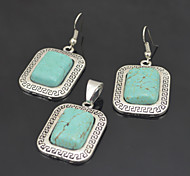 Vintage Look Antique Silver Square Turquoise Stone Small Necklace Earring Jewelry Set(1Set)
