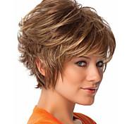 neue Ankunfts blonde kurze lockige synthetische Haarperücken