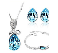 High Quality Crystal Water Drop Pendant Jewelry Set Necklace Earring (Random Plated Color)